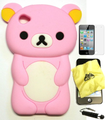 Bukit Cell Baby Pink bear 3D Cartoon soft silicone skin case cover for IPod Touch 4/4G/4th generation + free screen protector + free METALLIC detachable touch screen STYLUS PEN with Anti dust plug
