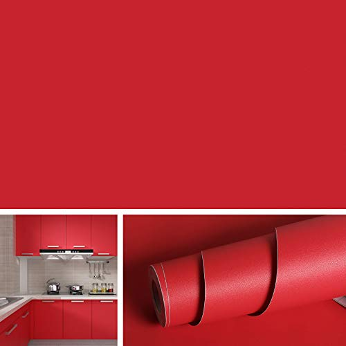 "Livelynine Solid Red Peel and Stick Wallpaper for Kitchen Backdrops Removable Self Adhesive Vinyl Film for Art/Crafts DIY Decorative Contact Paper for Countertops Drawer Shelf Liner 15.8""x78.8"""