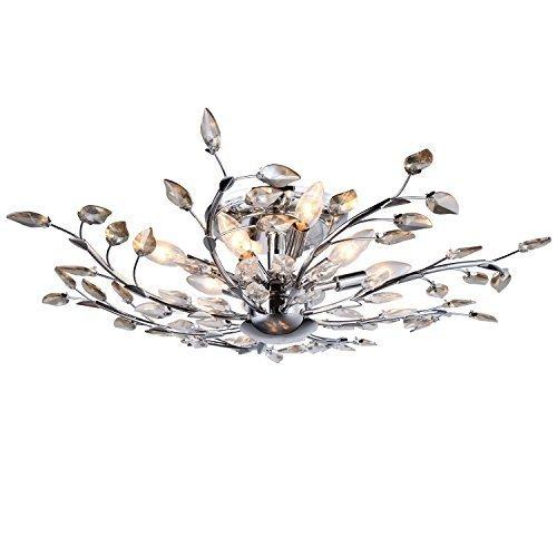 Branch of Light 6 Light Semi Flush Mount Golden Teak and Clear European Crystal -