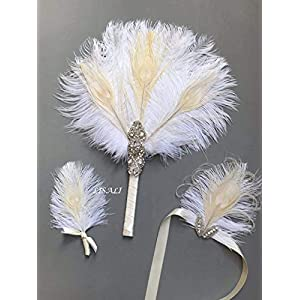 LISALI Peacock Feather Bouquet,Feather Fan, Bridesmaid Peacock Handfasting, Boutonnere,20s Gatsby Vintage Wedding Bouquet 104