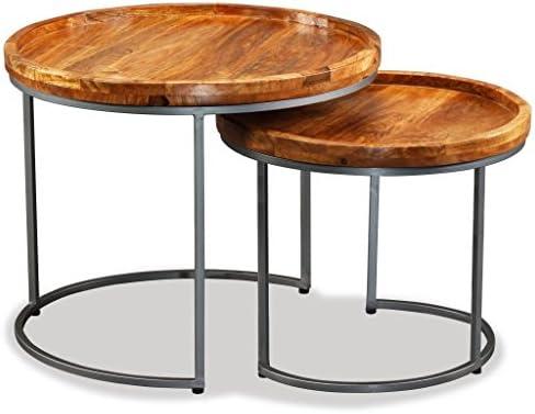 Origineel Tidyard set van 2 salontafels van massief mangohout, salontafels voor woonkamer in moderne stijl  gSvAnJ2