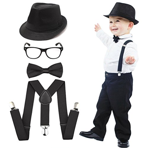 esrtyeryh Kid Costume 1920's Boys Fedora Gangster Hat Suspenders Bow Tie Nerd Fake -