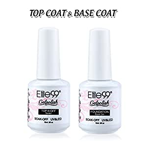 Elite99 Gel Nail Polish Base Coat Top Coat Set 2PCS Soak Off UV LED Gel Nail Varnish Manicure Lacquer Nail Art Set (15ML-Top and Base Coat Set)