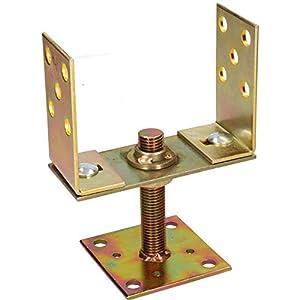 KOTARBAU® Supporto per pali 130-160 mm con dado regolamentato in altezza per recinzioni travi in legno zincato Manicotto… 41N5ZWLg8bL. SS300