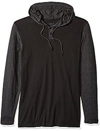 Men's Pick Up Hooded Long Sleeve Henley Shirt