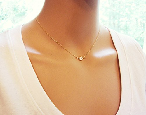 - Gold Tiny Sparkling CZ Choker Necklace - 14k Gold Fill Dainty Everyday Jewelry - Diamond Alternative Gift For Her