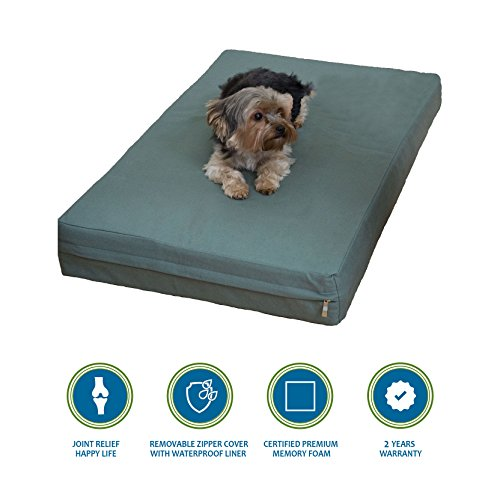 PetBed4Less Deluxe Orthopedic Memory Foam Dog Bed Pet Pad with Chew Resistant Tear Resistant and Removable Zipper Cover + Free Waterproof Liner [Replacement Zipper Covers Available]