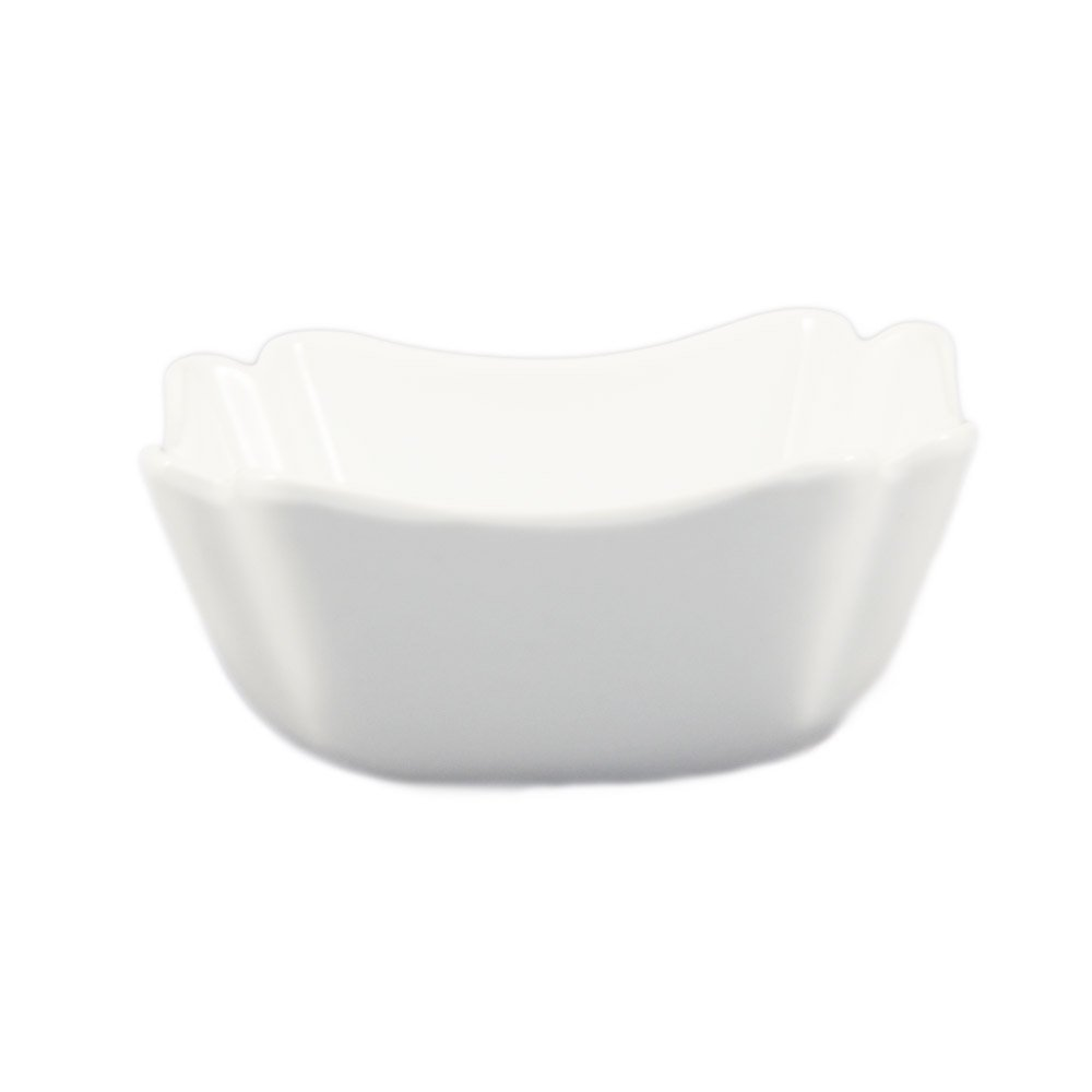 CAC China SLB-8 40-Ounce Porcelain Square Salad Bowl, 7 by 3-5/8-Inch, Super White, Box of 24