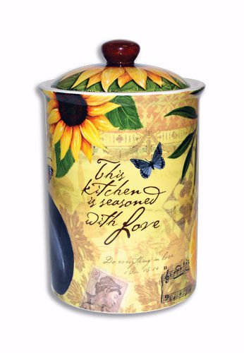 Seasoned with Love 8.5 inch Ceramic Stoneware Inspirational Cookie Jar and Lid by Divinity Boutique from Divinity Boutique