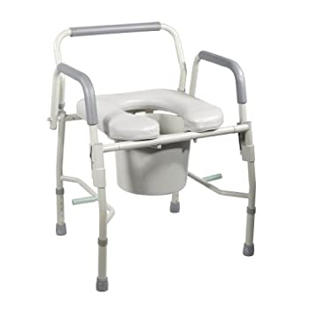 Image of Drive Medical Steel Drop Arm Bedside Commode with Padded Seat and Arms, Grey