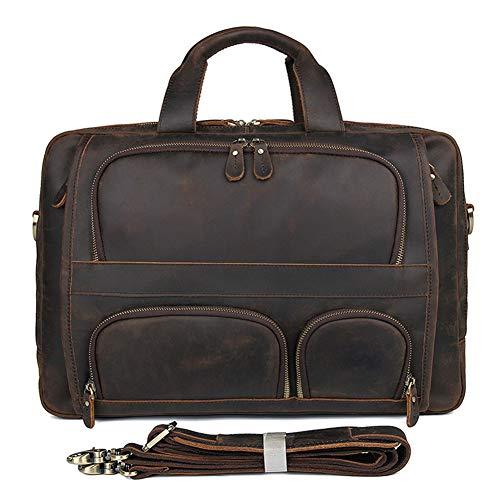 Leather Expandable Briefcase Deluxe - HWX Soft Leather Deluxe Mens Business Briefcase 17 Inch Laptop Vintage Satchel Shoulder Messenger Bag Crossbody Handbag Travel Bag (Color : Brown, Size : 44.5cmx15cmx31cm)