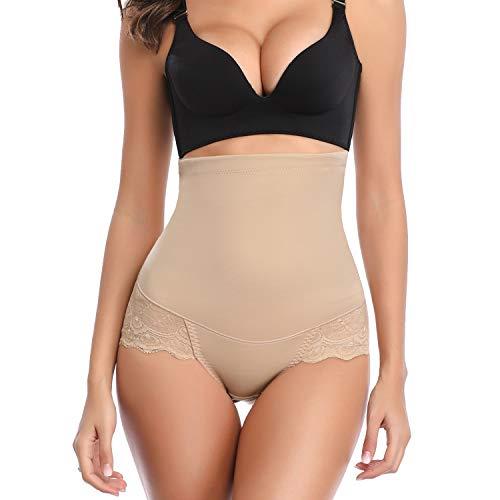 Womens Shapewear Panties Bodysuit Body Shaper High Waist Butt Lifter Tummy Control Seamless (Beige#2- Medium Control, L)