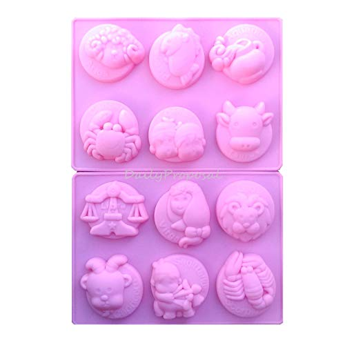 - 12 Zodiac Sign Horoscope Silicone Mold Bakeware Baking Cookie Pastry Chocolate Candy Butter Jello Ice Soap Making Homecraft DIY Mould Tray