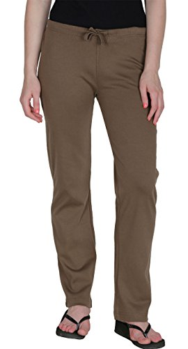 Womens Organic Cotton Pajama Yoga Pants GOTS Certified (Dark Brown, M)