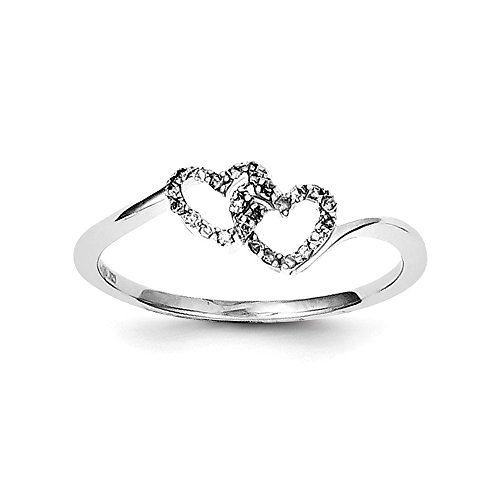 925 Sterling Silver Diamond Double Heart Promise Ring 8 Size (0.1ct ) by Diamond2deal
