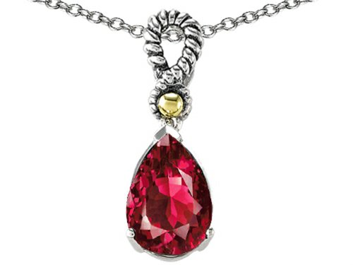 Star K 11x8mm Pear Shape Created Ruby Pendant Necklace Sterling Silver