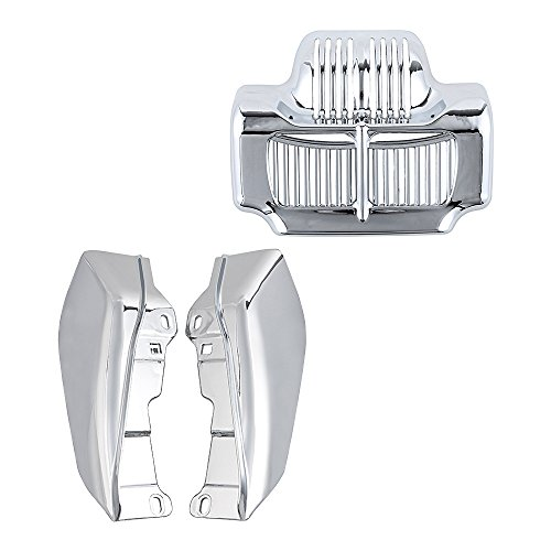 Combo Chrome Stock Oil Cooler Cover Insert + Mid-Frame Air Deflector Compatible with 2011-2016 Harley Touring Road King Street Electra - Oil Stock Chrome