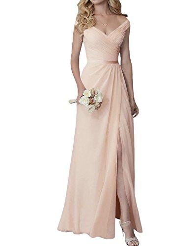 Yilis Elegant V-Neck Chiffon Slit Long Bridesmaid Dress Wedding Evening Dress Peach - Peach Bridesmaids Formal Gown