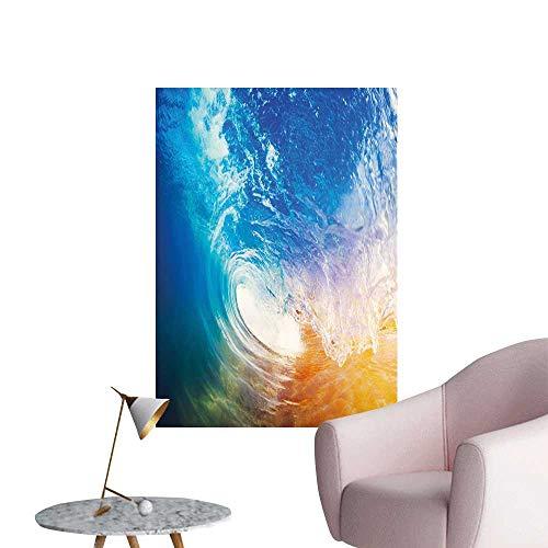 Jaydevn Wave Wall Mural Wallpaper Stickers Huge Vibrant Ocean Wave Crashing at Sunrise Water Splash Summer Surfing Theme Boys Kids Bedroom Blue Orange White W16 x H20 ()