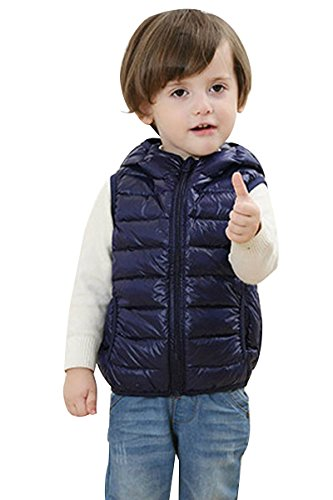 Fall Puffer Women's Vests Kids And Sleeveless Down Winter Navy Blue YMING Lightweight Coat nqdYqIF