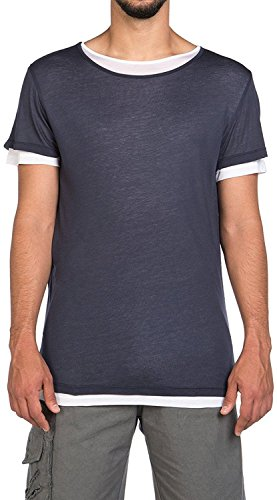 The Project Garments Men's Silk Blend Double Layer Crew Neck Tee Navy Blue and White (Large)