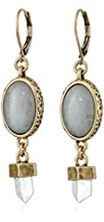 Lucky Brand Crystal and Stone Drop Earrings