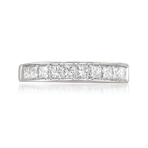 14k White Gold Princess-cut 11-Stone Diamond Bridal Wedding Band Ring (1 cttw, J-K, SI1-SI2), Size 8.5 by La4ve Diamonds (Image #2)