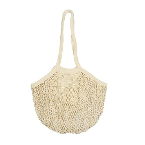 Best Farmers Market Bags - Sturdy Net Market Bags for Grocery - Organic Cotton Light weight Fish Net Bags - Mesh Market Bag Groceries, Beach Tote, Produce Bag, Fruit & Vegetable Storage Bags (1 Bag) ()