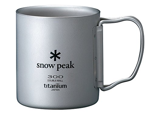 Snow Peak Titanium Double Wall Cup 300 with Folding (Snow Peak Titanium Folding Cup)