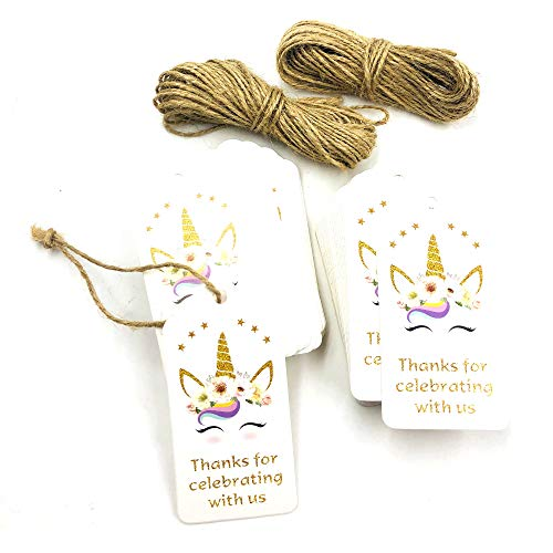 SKYSTARS 100 PCS Fantasy Unicorn Thank You for Celebrating with Us Tags White Paper Gift Wrap Tags with Natural Jute Twine for Baby Shower, Christmas, Wedding and Party Decoration – Smile Unicorn