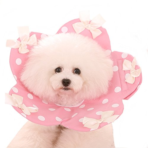 Stock Pink Ribbon - Stock Show 1Pc Pet Recovery Collar, Cute Soft Cotton Wound Healing Protective Cone White Ribbon with Polka Dots Elizabethan Collar for Puppy Dog Cat, Pink