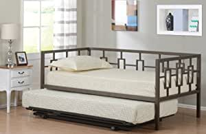 Brown Metal Twin Size Miami Day Bed (Daybed) Frame With Metal Slats & Pop Up Trundle