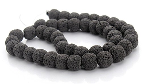 (Mega Shop Lava Beads Rock Stone Size Round 8 mm with 10 mm 40 cm Strand For Diy Jewelry Making Volcanic Stones Beaded Essential Oil Beadnova (Black))