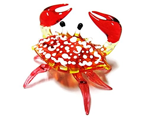 1 X Handcrafted MINIATURE HAND BLOWN GLASS Small Red Crab FIGURINE Collection by ChangThai Design (Hand Miniature Glass Blown)