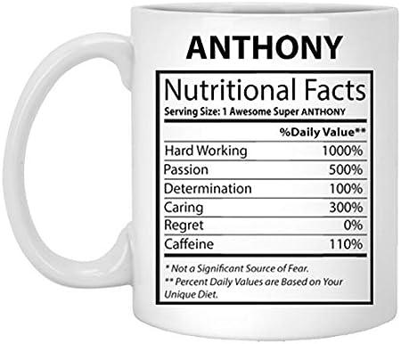 N\A Taza de café con Nombre para él, Ella - Anthony Información nutricional - Tazas motivacionales para mamá, papá en el día del Padre - Cerámica Blanca