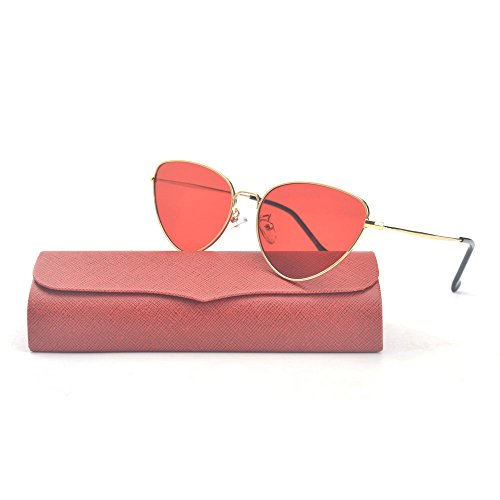 MINCL/Summer Fashion Vintage Cat Eye Colorful Lens Sunglasses (gold-red, - Lens Colorful