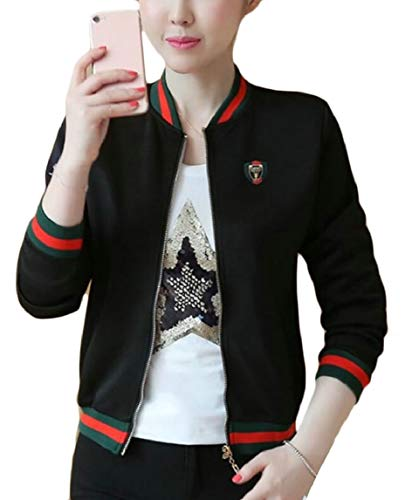 Zipper Bomber Women's Floral Short Jacket Full 4 Casual Print Coat security fp8qwO8