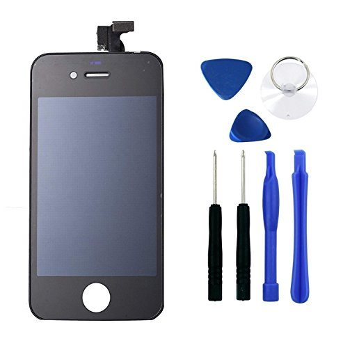 Black iPhone 4 LCD Touch Screen Digitizer Glass Replacement Full Assembly with Repair kit (Gsm Iphone 4 Screen Replacement)