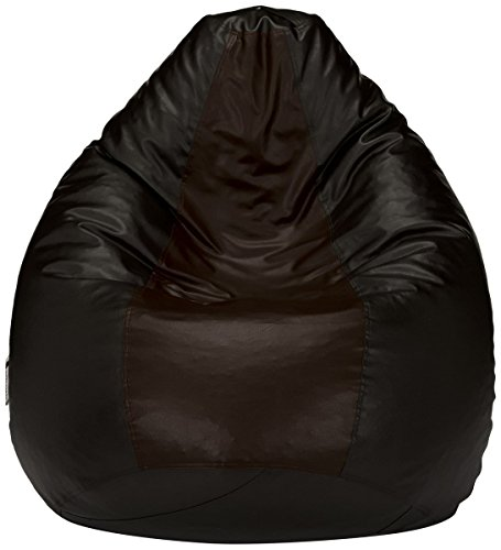 (Nexis Sundry Premium Quality XXXL Indoor/Outdoor Bean Bag Chair Cover Without Filers Large Leatherette -Black & Brown)