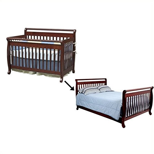 DaVinci Emily 4-in-1 Convertible Crib w/ Full/Twin Size Bed Rail Set in Cherry by DaVinci