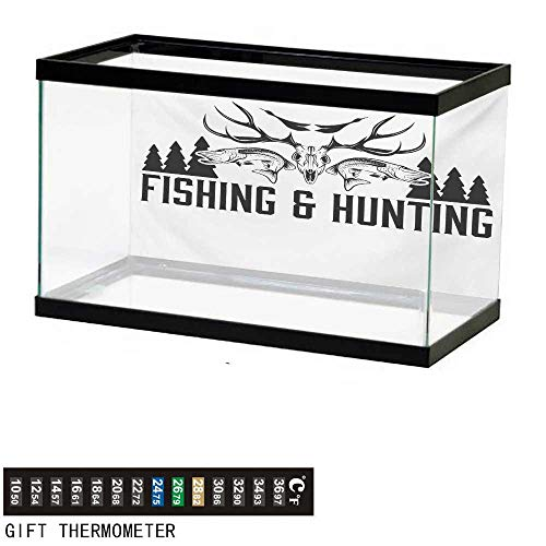 wwwhsl Aquarium Background,Hunting,Hunting and Fishing in Vintage Emblem Design Antler Horns Mallard Pine Tree,Black and White Fish Tank Backdrop 24