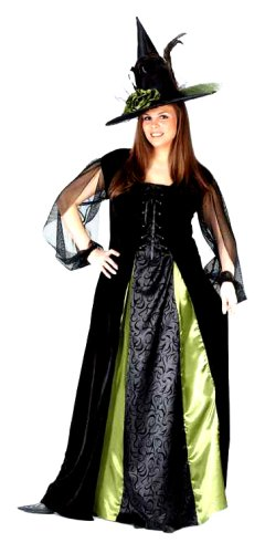 FunWorld Women's Plus Goth Maiden Witch, Black, 16W-24W Costume