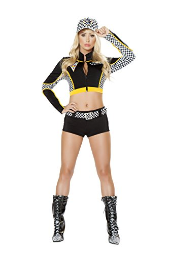Patrick Danica Costumes (3 Piece Race Car Driver Black & White Crop Top & Shorts Party)