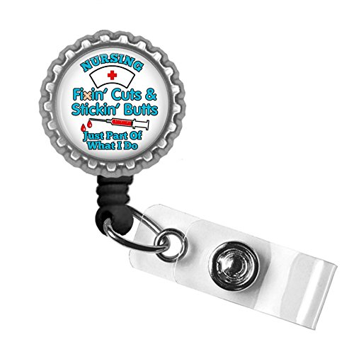 Nursing Fixin Cuts and Stickin Butts BLUE Silver Black Badge Reel Retractable ID Tag Holder (Fixins Gift)