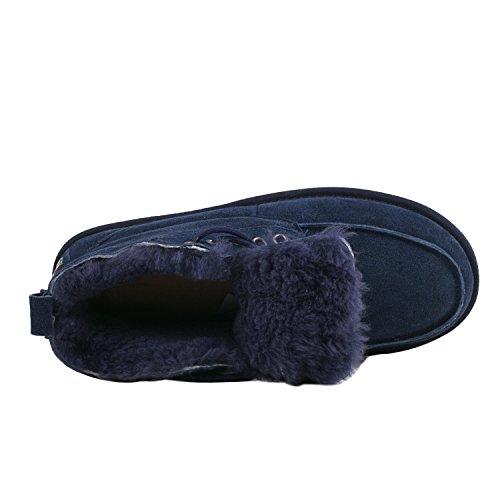 D5788 Invernali Shenduo Classico Stivaletti Scuro Uomo Blu Scarpe lacci con 0qwwPa4