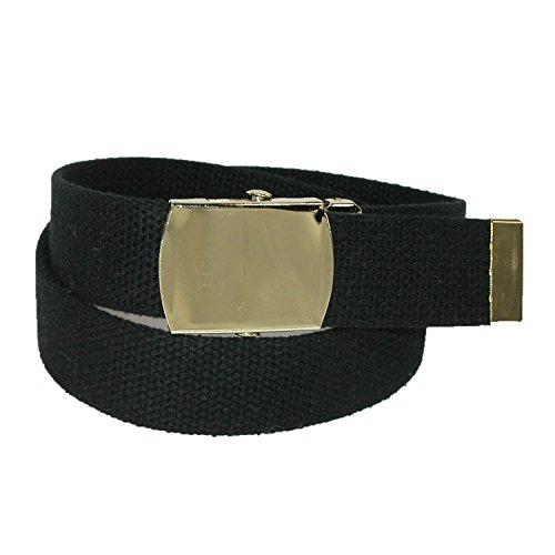 CTM Cotton Adjustable Belt with Brass Buckle, Black