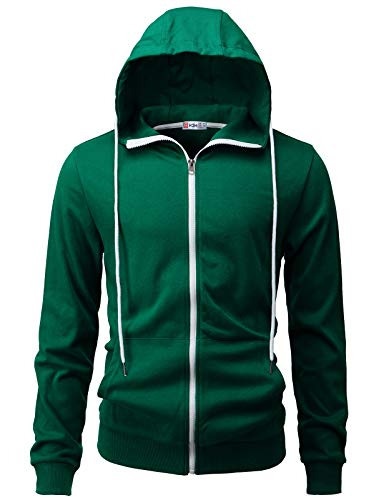 H2H Mens Casual Zip-up Hoodie Double Cotton Lightweight Hooded Green US M/Asia L (CMOHOL062)