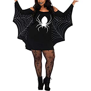 Grace's Secret Halloween Costumes for Women, Plus Size Women Halloween Spiderweb Dress, Party Cosplay Costume Tunic Dress