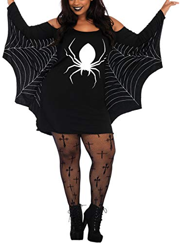Grace's Secret Halloween Costumes Women Plus Size, Spiderweb Dress Jersey Cosplay Tunic Dress Black X-Large