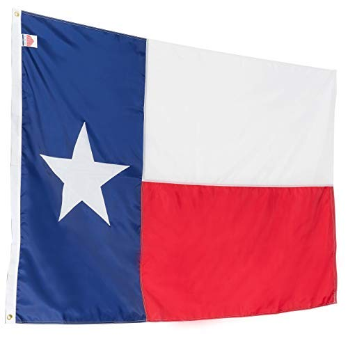 (Texas State Flag 3x5 Heavy Duty TX Flag - 100% Made in USA Flags - Appliqué Nylon Lone Star Banner, Quadruple Stitched Fly End, Outdoor & Weather-Resistant, Vibrant, Brass Grommets for Easy Display)
